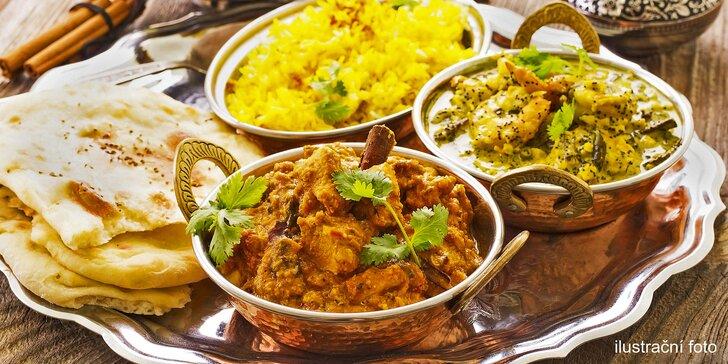 Indické menu pro dva: předkrm a vegetariánský nebo kuřecí hlavní chod