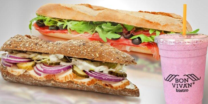 Svačinka k nakousnutí: bageta nebo sendvič s kávou, freshem či smoothie