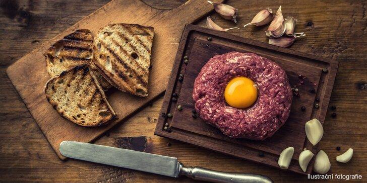 3 druhy tataráků v italské restauraci: hovězí, italský telecí i z lososa