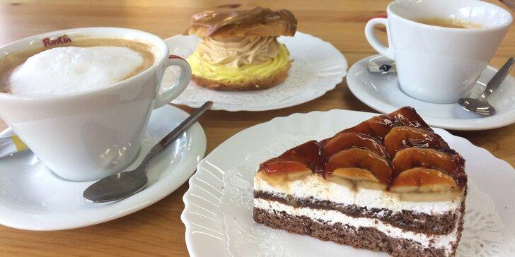 Káva s dortíkem dle výběru: espresso i latté a větrník, florida či harlekýn