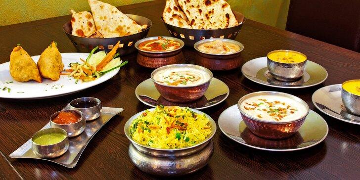 Indické menu s kuřecím i vege pro 2 osoby: předkrm, dezerty i hlavní chody