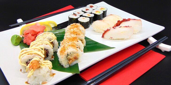 Sushi sety v podzámčí: 18 nebo 20 ks s krevetami, chobotnicí i rybami