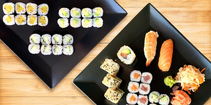 Pestré sushi sety: 24 vege rolek, ale i 22 či 32 ks s avokádem či rybami