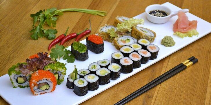 Sushi sety i s polévkami: nigiri, maki, california i vegetariánské sushi