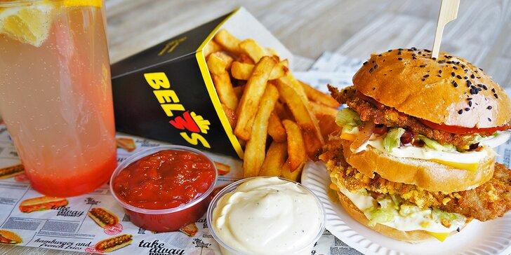 Burger či šťavnatá žebra s hranolky, omáčkou a domácí limonádou