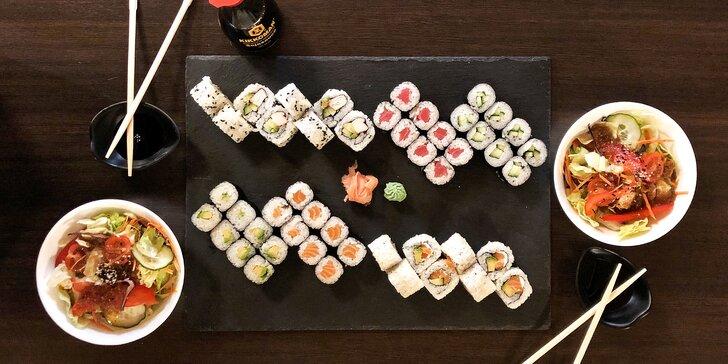 Rolované dobroty: sushi sety 24–58 ks i s vegetariánským salátem Chay