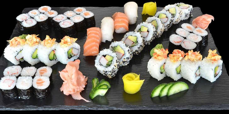 Restaurace s japonskou atmosférou: sushi sety s 24 nebo 44 ks