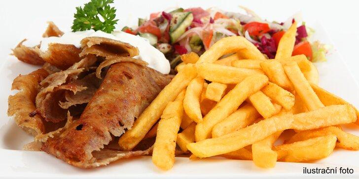 Parádní sváča: kebab či falafel v tortille, chlebu i s hranolky a nápoj dle výběru