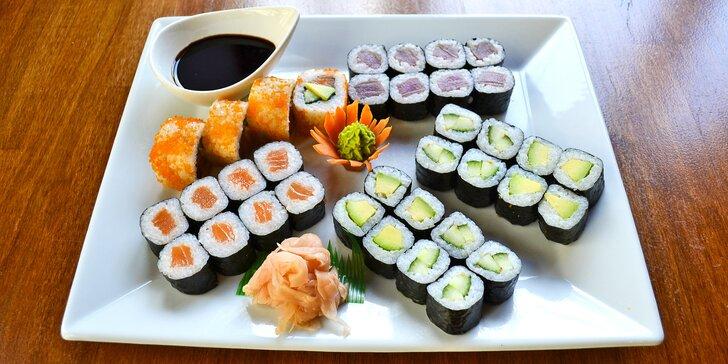 Ochutnejte asijské dobroty: 16–48 ks rybího nebo vege sushi i 2 polévky