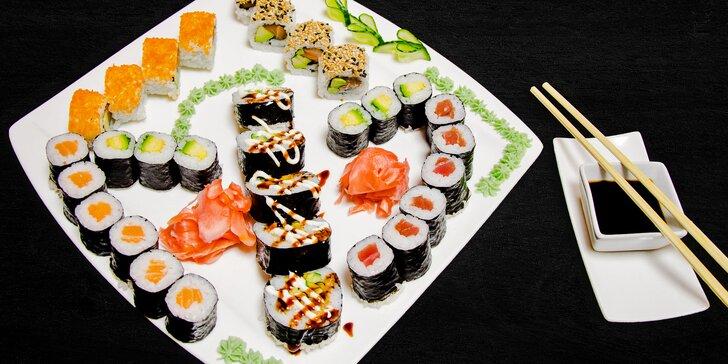 Sushi sety: 20–31 kusů, varianta s polévkou miso i vegetariánská verze