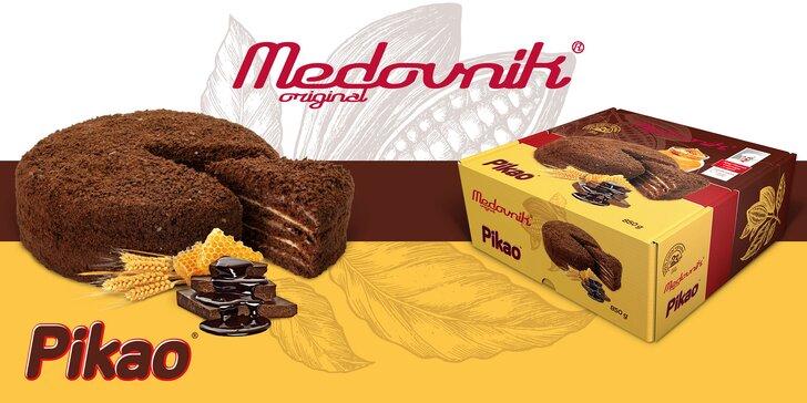 Medovník originál: celý dort Pikao a kousek ořechového medovníku Premium