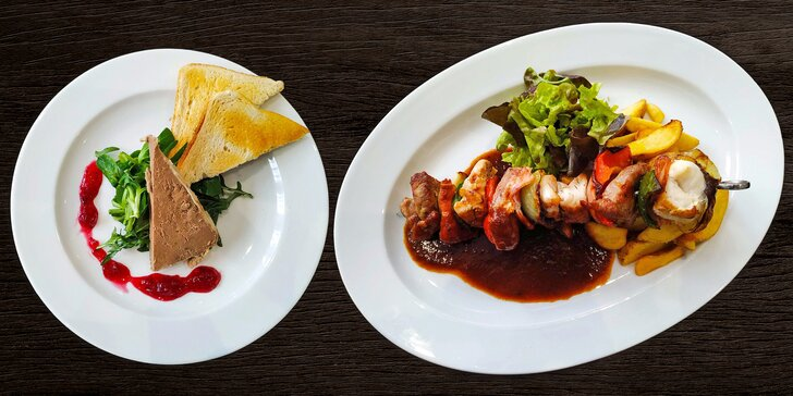 Tři chody v restauraci s výhledem na řeku: domácí paštika, špíz a crème brûlée