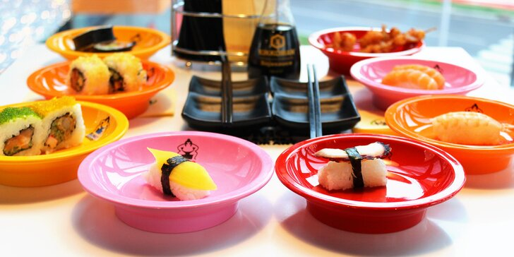 Snězte, co můžete: 2 hodiny hodování running sushi pro 1 osobu