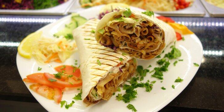Kebab v tortille nebo chlebu i velký a malý box s hranolky: hovězí nebo kuřecí