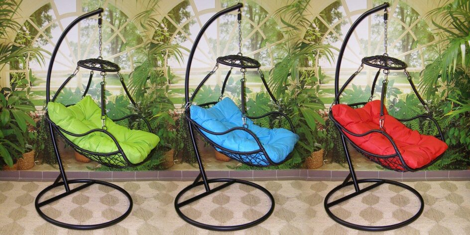 Ratanová závěsná křesla s polštářem ve 3 barvách