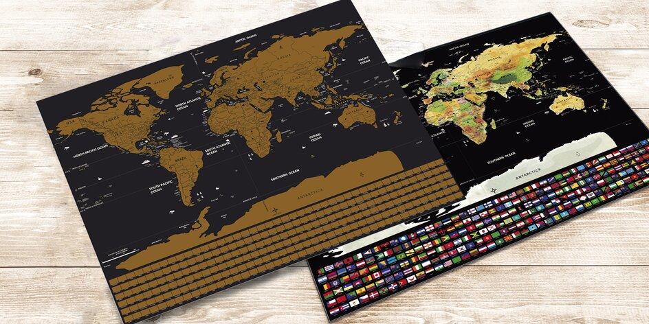 Stírací mapa světa s vlajkami v dárkovém tubusu