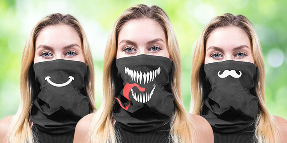 Bezešvé šátky na obličej: 10 zábavných potisků
