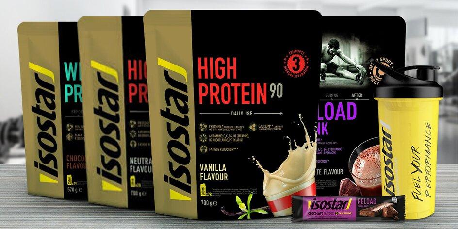 Proteiny Isostar, shaker i proteinové tyčinky