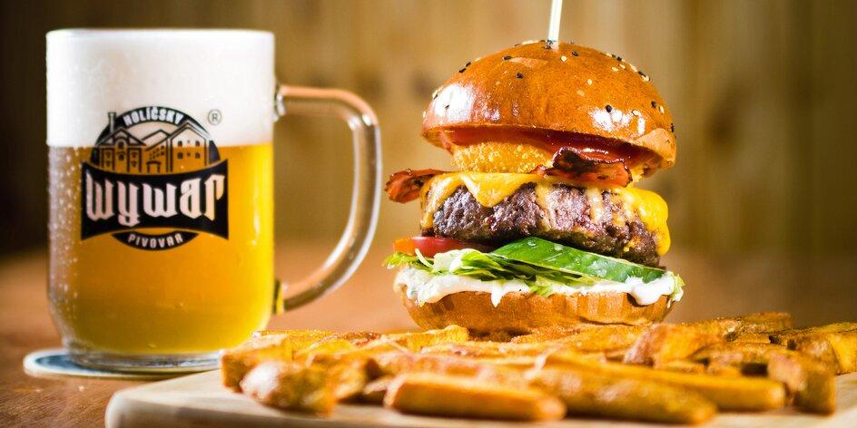 2× menu: burgery, kuřecí stripy, saláty a hranolky