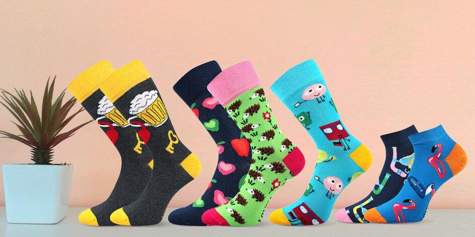 Zábavné barevné ponožky: 3 páry podle výběru