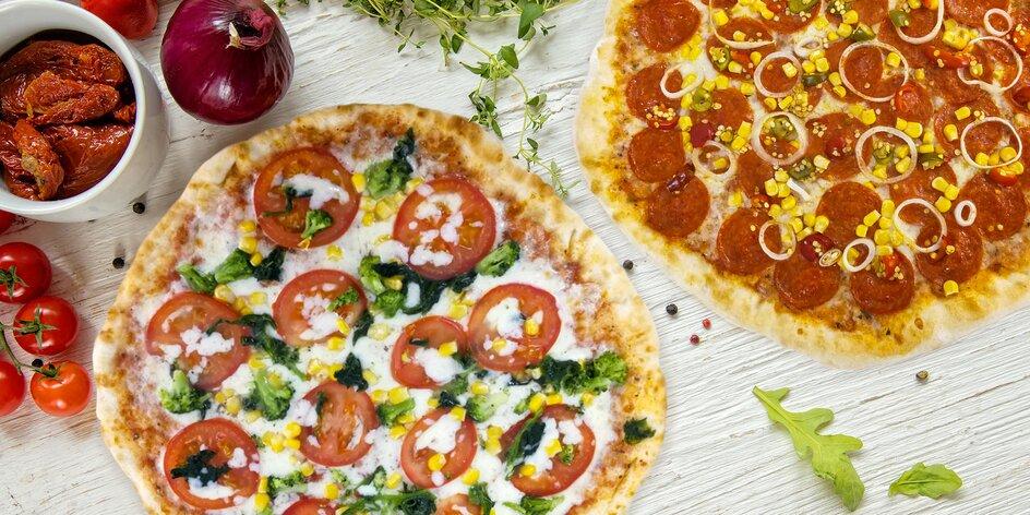 Dvě chutné pizzy o průměru 32 cm včetně dovozu