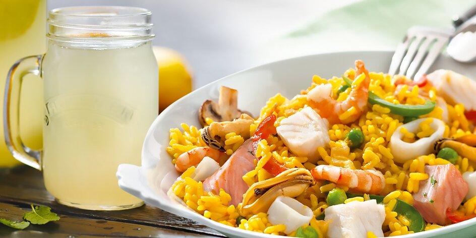 Paella s mořskými plody a limonáda v Nordsee