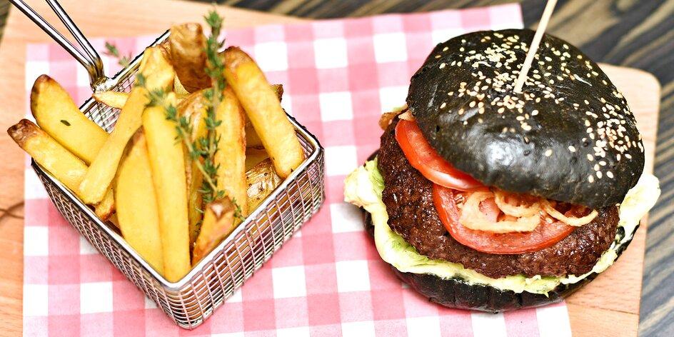 Burgerové menu: hranolky, salát a limo až pro 4
