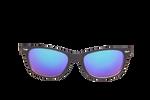 Černo-bílé brýle Kašmir Wayfarer W27 - modrá zrcadlová skla