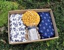 Dárková sada: 2× pohankový polštářek s levandulí, houba a mýdlo