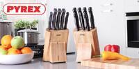 Pět nožů PYREX v dřevěném bloku