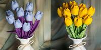 Dekorační textilní tulipány, které nikdy neuvadnou