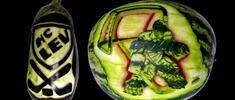 Vyřezávaný meloun s vlastním textem či obrázkem