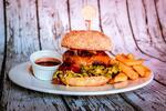 2 burgery s hranolky, na výběr hovězí i kuřecí