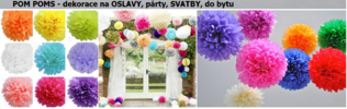 Barevné pom-pom dekorace pro oslavy a svatby