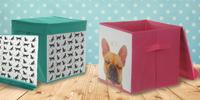 Plátěný uzavíratelný úložný box v pěti motivech