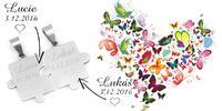 Něco pro romantiky: 2 přívěšky ve tvaru zapadajících puzzlů s rytinou textu