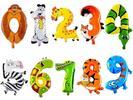 Nafukovací balónky: číslice ve tvaru zvířátek